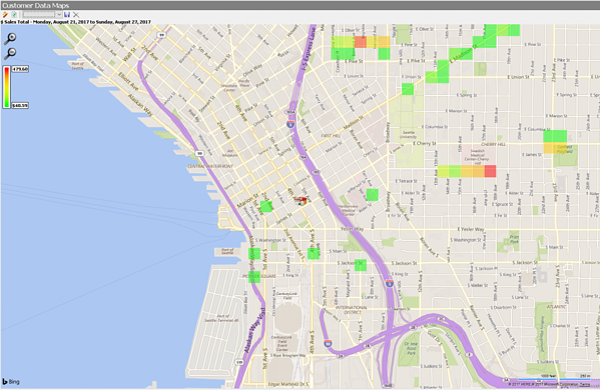 SpeedLine LiveMaps heat map example showing sales totals per region.