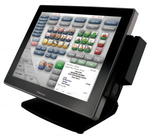 The SpeedLine POS interface is being shown on a terminal.