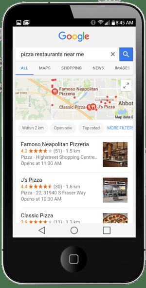 Google listings on iphone