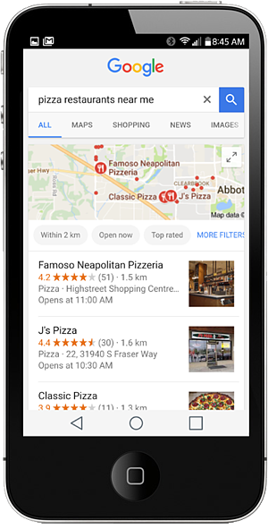 Google listings on iphone
